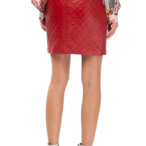 quilted leather skirt red