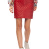 MIKKO Quilted Mini Leather Skirt in red