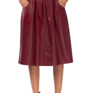 Leather Box Pleated Skirt