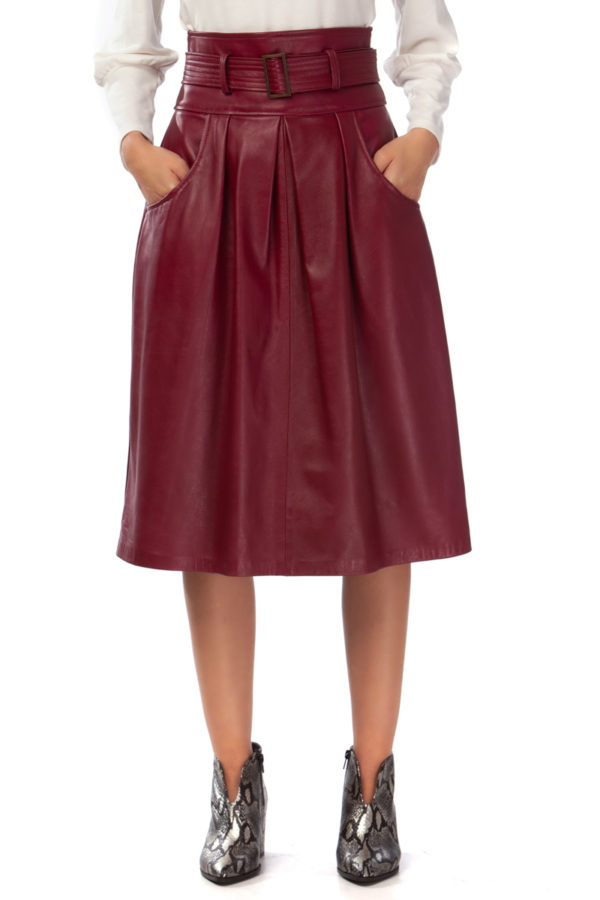 Leather Box Pleated Skirt