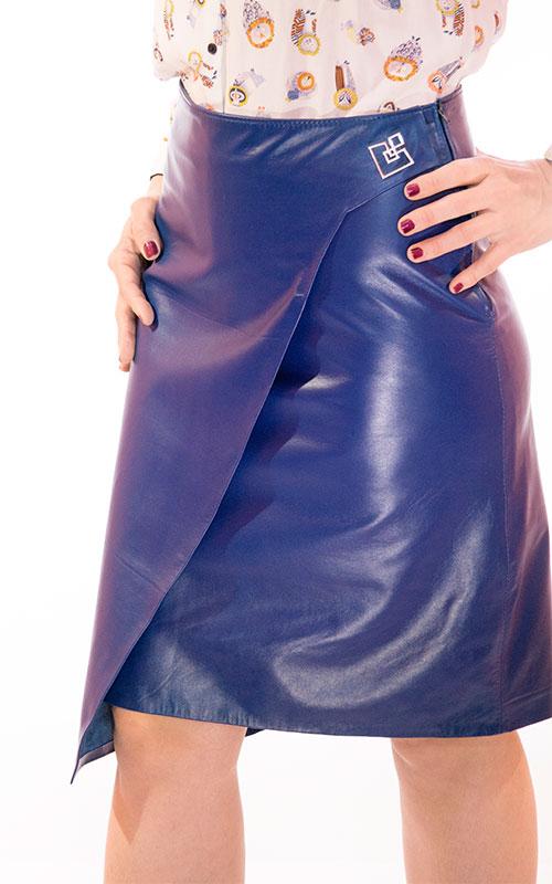 Leather Asymmetrical Skirt blue