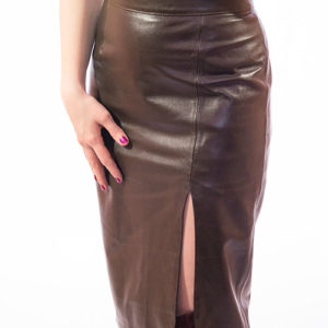 Midi Pencil Leather Skirt