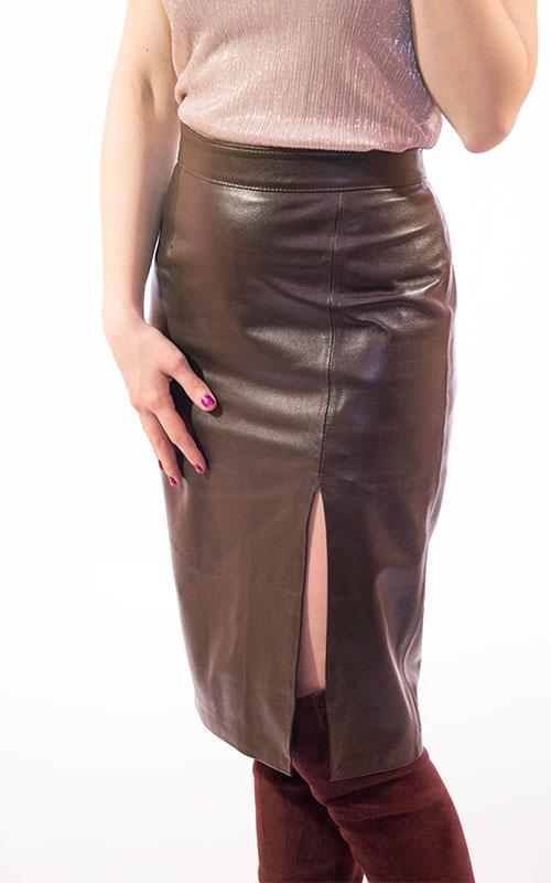 Midi Pencil Leather Skirt