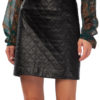 MIKKO Quilted Mini Leather Skirt in black