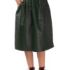 MIKKO Leather Box Pleated Skirt in forest green