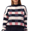 Checked Sweater in blue, pink and white