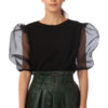 Blouse with organza elbow sleeves in black