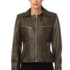 MIKKO Leather jacket in khaki