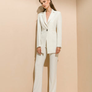 Straight leg trouser in pin stripe, misantra, μισαντρα, Longline pin stripe blazer