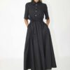 Maxi dress poplin cotton in black
