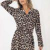 Long sleeve maxi dress in leopard print