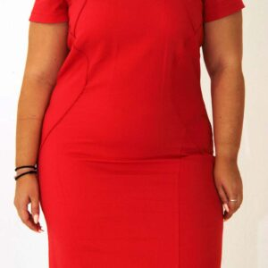 Curve midi dress red, misantra fashion