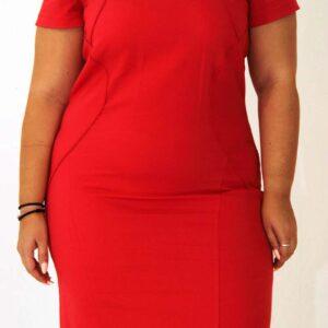 Curve midi dress red, misantra fashion