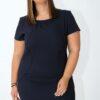 Curve midi dress in dark blue
