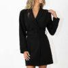 Blazer dress with belt detail in black