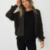 Knitted cardigan with fringe detail in khaki