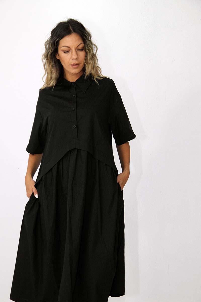 Curve cotton poplin midi dress in black