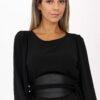 Midi smock dress in black