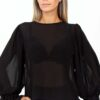 C through frill long sleeves blouse in black