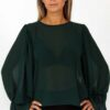 C through frill long sleeves blouse in green