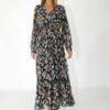 Maxi smock wrap dress with leaf print