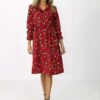Midi corduroy dress with leaves as pattern
