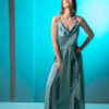 Satin maxi dress with open back in mint