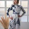 High neck midi dress in white and navi blue