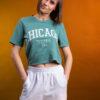 Chicago crop top t-shirt in baby green