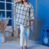 Oversized linen shirt with dip back in blue-grey check