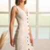 Lace midi pencil dress in white