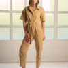 Button front belted Jumpsuit in sand