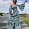 Co-ord set in blue with floral pattern